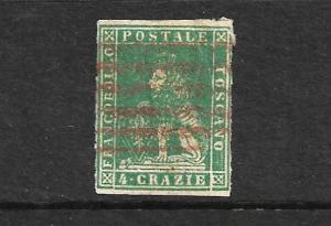 TUSCANY 1857-59  4c  BLUE GREEN  LION  FU   Sc 14  SG 30