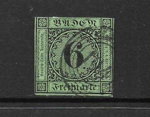BADEN  1851  6k   BLUE/GREEN  FU     SG 5