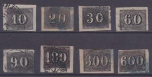 Brazil Sc 21-28 used 1850 Black Imperf Numerals cplt
