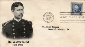 AO-877, 1940, Dr Walter Reed, First Day Cover, Add-on Cachet, SC 877,