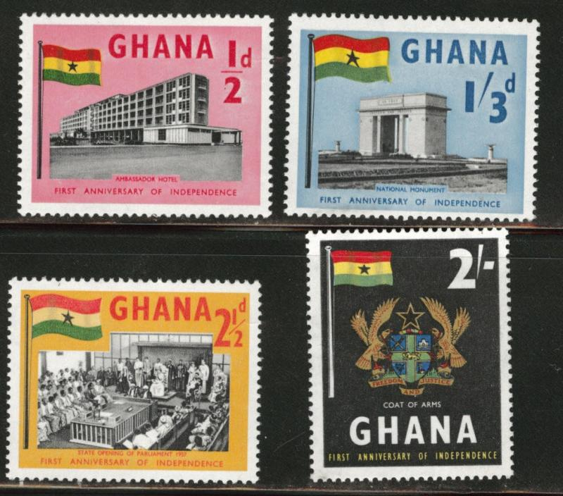 GHANA Scott 17-20 MNH** 1958 Flag stamp set