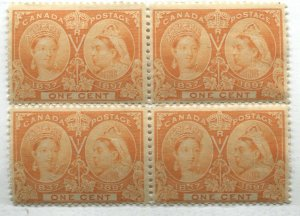 Canada 1897 1 cent Jubilee unmounted mint NH block of 4