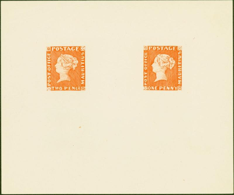 Mauritius 1847 POST OFFICE 1d and 2d in Orange-Red  SG1 and SG2 Reprinted from t