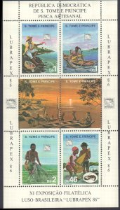 St.  Thomas & Prince Islands #796, Complete Set, Sheet of 4, 1987, Stamp Show...