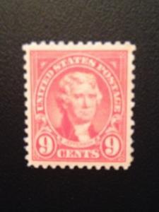 Scott #561 Thomas Jefferson, 1923 Flat Press Perf 11, MINT, XF, HR, OG
