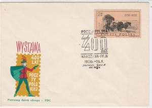 Polish 1958 400 Years Exhibition in poland FDC Stamp Cover ref 23014