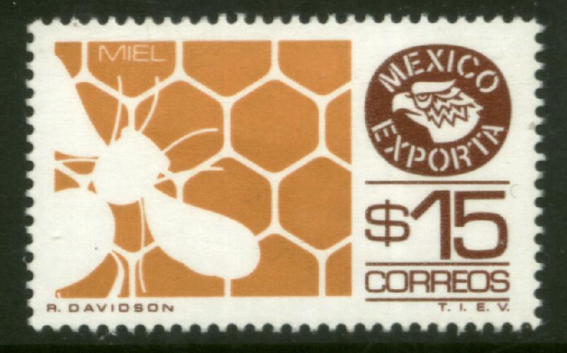 MEXICO Exporta 1126 $15P Honey Fluorescent Paper 7 MNH