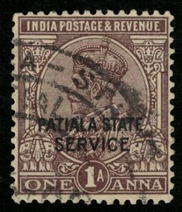 India, 1A, PATIALA STATE SERVICE, King George V, Watermark (T-6059)