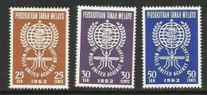 MALAYA 102-104 MNH MALARIA ERADICATION EMBLEM 1962