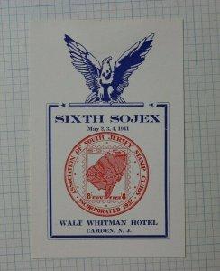 6th SOJEX 1941 Camden NJ S Jersey Stamp Club Souvenir Ad