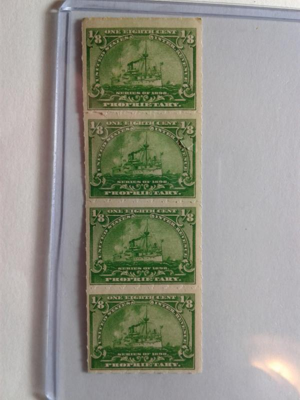 SCOTT # RB 20 MINT NEVER HINGED REVENUE STAMP VERTICAL STRIP OF 4 PRINTED 1898 !