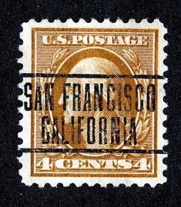US Scott # 334 1908 Washington, 4c San Francisco CA. Precancel