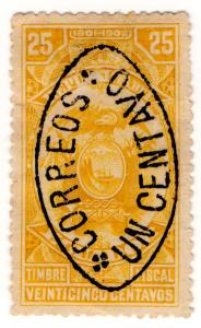 (I.B) Ecuador Revenue : 25c Yellow with 1c Postal OP