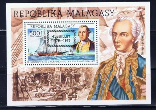Malagasy C167 NH 1976 U.S. Bicentennial with addl overprint.