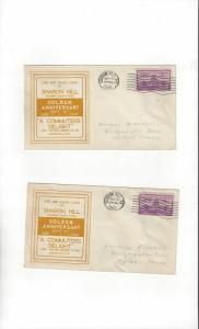 US Sharon Hill, PA Golden Anniversary 1940 Two Postal History Covers
