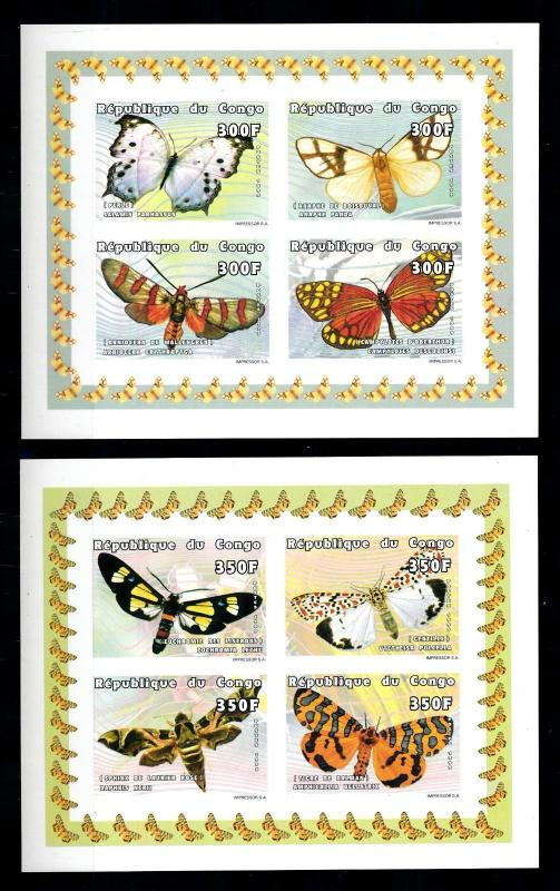 [75582] Congo Brazzaville 1999 Butterflies Papillons 2 Imperf. Sheets MNH