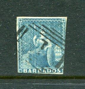 x184 - BARBADOS Sc# 6 Used, 1p Blue