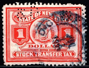 US STAMP REVENUE STATE OF NEW YORK STOCK TRANSFER  TAX PAID STAMP RED