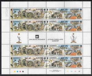 Alderney 1996 MNH Sc #91 Minisheet of 4 strips plus gutter 41p 30th Signal Re...
