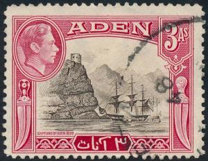 Aden 1939 3a Sepia & Carmine SG22 Used