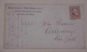 US COVER  TO CAPT JOHN CHAMBER WILLSBOROUGH #35 FROM ELIZABETHTOWN NY