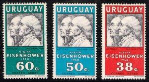 URUGUAY Stamp 1960 Airmail - Visit of President Eisenhower MH/OG SET
