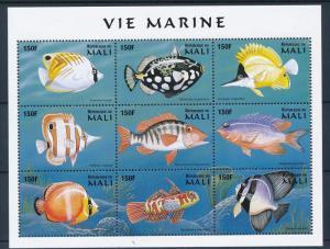Mali MNH S/S Fish Marine Life 1997 9 Stamps