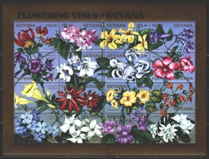 Guyana. 1990. Small sheet 3373-88. Flowers, flora. MNH.