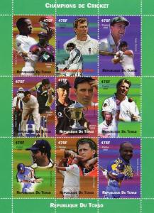 Chad 2002 Champions of Cricket Sheetlet (9) Perforated MNH