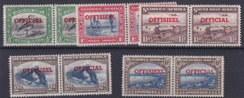 SOUTH WEST AFRICA  1951 - 52     S G  023 - 027   OFFICIAL SET OF 5  MH