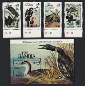 Gambia Vulture Darter Heron Duck Diver Birds 4v+MS Audubon SG#581-MS585