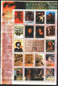 Angola. 2000. Small sheet 1553-69. Millennium, Machiavely, Henry 8, Luther, D...