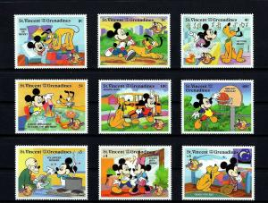 ST VINCENT - 1998 - DISNEY - MICKEY MOUSE - 70th BIRTHDAY - 9 X MINT - MNH SET!