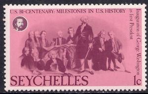 Seychelles 1976 QE2 1ct Inauguration of George Washington MM SG 383 ( M1334 )