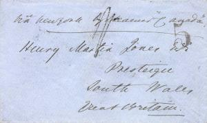 U.S., 1850 Stampless Cover, Sent from Boston to South Wales, Great Britain