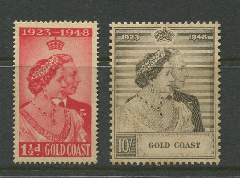 Gold Coast - Scott  142-143 - Silver Wedding - 1948 - MNG - Set of 2 Stamps