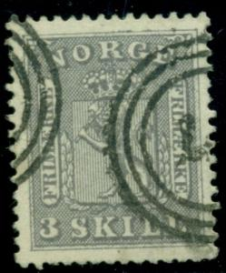 NORWAY #7 3sk lilac gray, used, VF, Scott $600.00