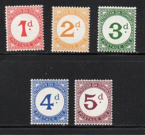 Tristan da Cunha Sc J1-5 1957 Postage Due stamp set mint NH