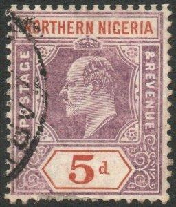 NORTHERN NIGERIA-1907 5d Dull Purple & Chestnut chalk paper Sg 24a AU V45848