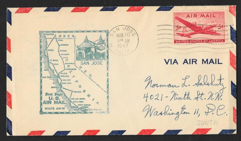 UNITED STATES First Flight Cover 1947 San Jose-San Francisco