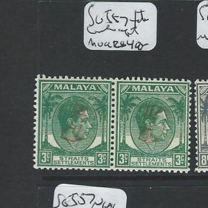 MALAYA JAPANESE OCCUPATION PENANG(P1801B)OKUGAWA 3C SGJ57 PR, ONE INVERTED, RARE