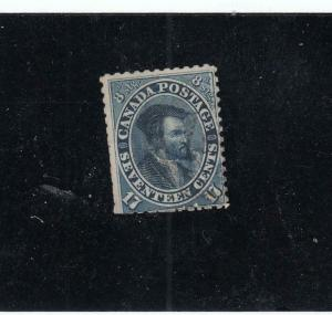 CANADA # 19  F-USED 17cts JACQUES CARTIER/1st Cts ISSUE CLIPPED PERFS CAT $120