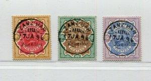 1895 ZANZIBAR INDIA OVPT HIGH VALUES 2-5 RUPIES SCOTT 14-16 SG 19-21 SUPERB USED