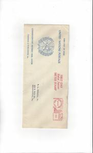United Nations First Meter Stamp Slogan 1(A) PB1 Souvenir Cover, LTR to Bowes