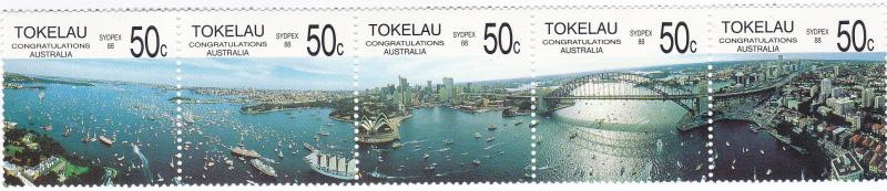 TOKELAU 1988 Bicentenary Australia & Sydpex strip UHM set