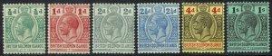 BRITISH SOLOMON ISLANDS 1914 KGV RANGE TO 1/- WMK MULTI CROWN CA