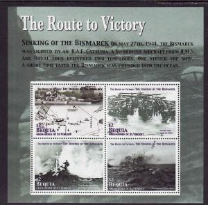 St. Vincent Grenadines-Bequia-Sc#355-unused NH sheet-Ships-Bismarck sinking-WWII