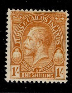 TURKS AND CAICOS ISLANDS GV SG183, 1s brown-orange, LH MINT.