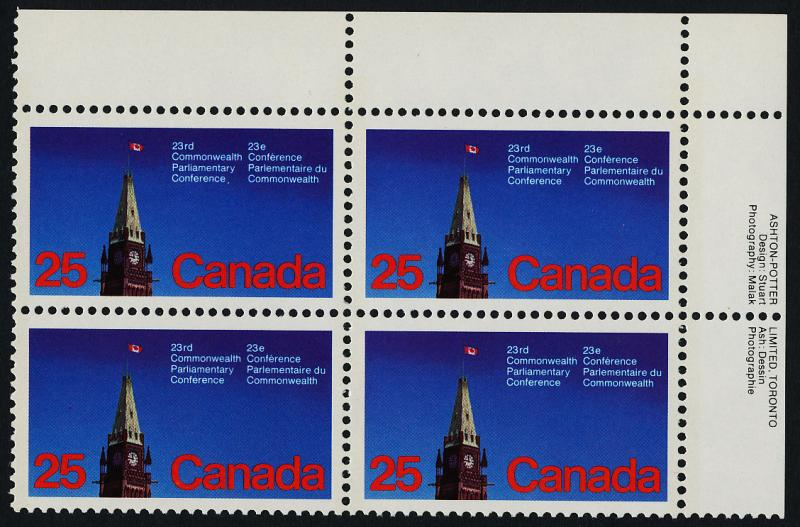 Canada 740 TR Plate Block MNH Parliamentary Conference