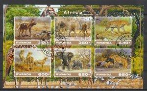 Rwanda Used S/S Panther & Elephant Wild Animals 2017